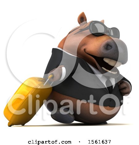 Clipart of a 3d Chubby Brown Business Horse Traveling, on a White Background - Royalty Free Illustration by Julos