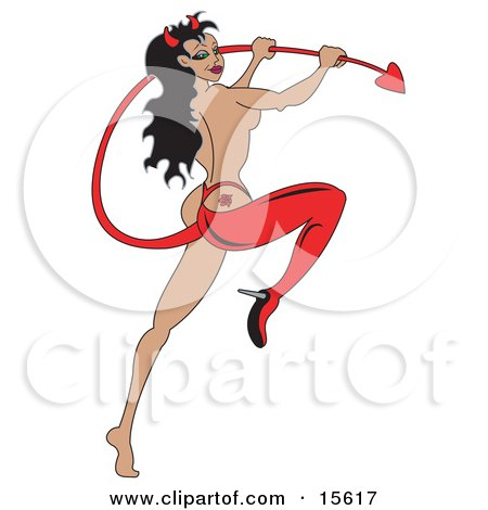 Attractive Woman Holding The Tail To Her Devil Lingere And Sporting A Rose Tattoo On Her Butt Cheek Clipart Illustration by Andy Nortnik