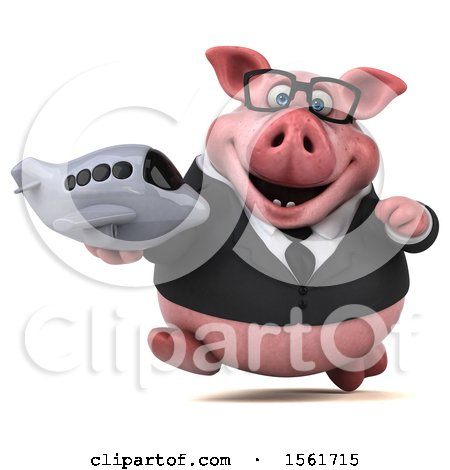 Clipart of a 3d Chubby Business Pig Holding a Plane, on a White Background - Royalty Free Illustration by Julos