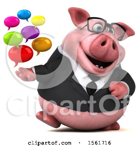 Clipart of a 3d Chubby Business Pig Holding Messages, on a White Background - Royalty Free Illustration by Julos