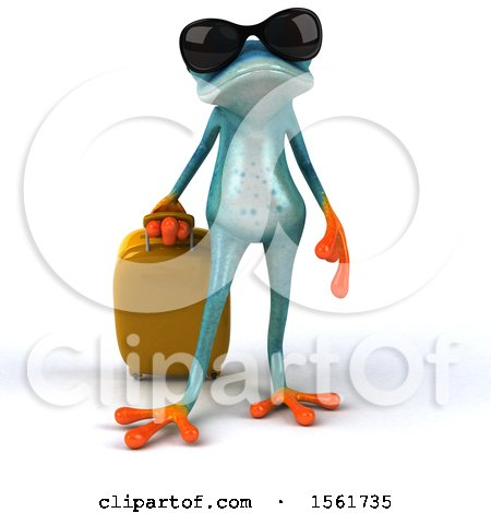 Clipart of a 3d Blue Frog Traveler, on a White Background - Royalty Free Illustration by Julos