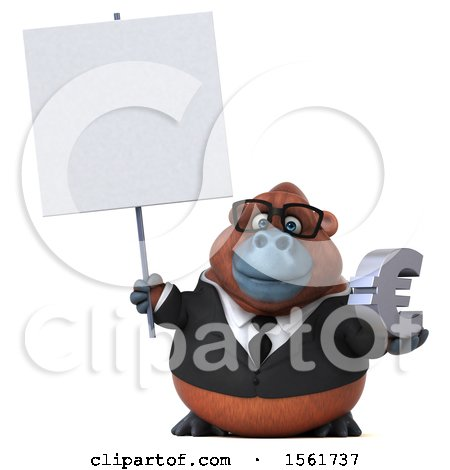 Clipart of a 3d Business Orangutan Monkey Holding a Euro, on a White Background - Royalty Free Illustration by Julos