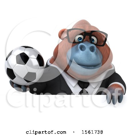 Clipart of a 3d Business Orangutan Monkey Holding a Soccer Ball, on a White Background - Royalty Free Illustration by Julos