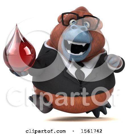 Clipart of a 3d Business Orangutan Monkey Holding a Blood Drop, on a White Background - Royalty Free Illustration by Julos