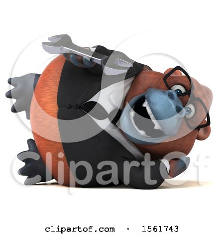 Clipart of a 3d Business Orangutan Monkey Holding a Wrench, on a White Background - Royalty Free Illustration by Julos
