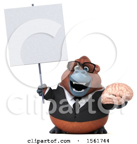 Clipart of a 3d Business Orangutan Monkey Holding a Brain, on a White Background - Royalty Free Illustration by Julos