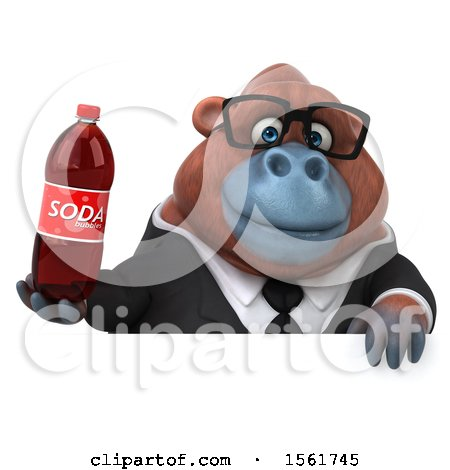 Clipart of a 3d Business Orangutan Monkey Holding a Soda, on a White Background - Royalty Free Illustration by Julos