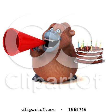Clipart of a 3d Orangutan Monkey Holding a Birthday Cake, on a White Background - Royalty Free Illustration by Julos
