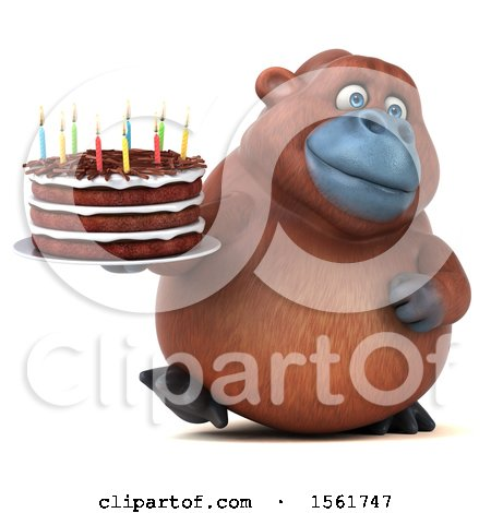 Clipart of a 3d Orangutan Holding a Birthday Cake, on a White Background - Royalty Free Vector Illustration by Julos
