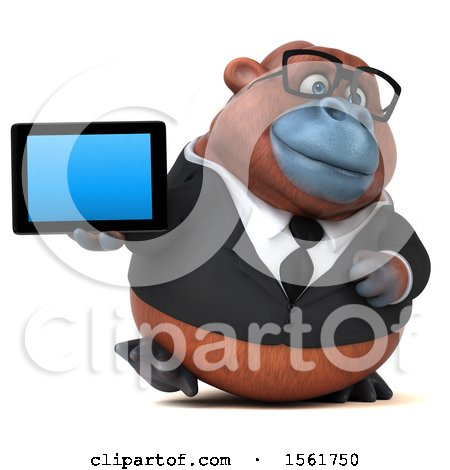 Clipart of a 3d Business Orangutan Monkey Holding a Tablet, on a White Background - Royalty Free Illustration by Julos