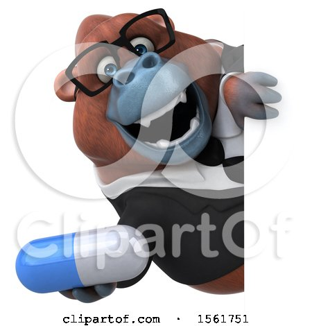 Clipart of a 3d Business Orangutan Monkey Holding a Pill, on a White Background - Royalty Free Illustration by Julos