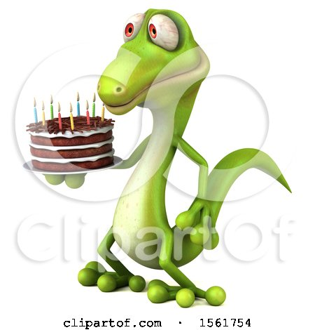 Clipart of a 3d Green Gecko Lizard Holding a Birthday Cake, on a White Background - Royalty Free Illustration by Julos