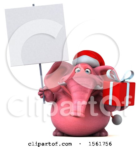 Clipart of a 3d Pink Elephant Holding a Gift, on a White Background - Royalty Free Illustration by Julos