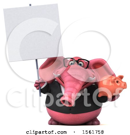 Clipart of a 3d Pink Business Elephant Holding a Piggy Bank, on a White Background - Royalty Free Illustration by Julos