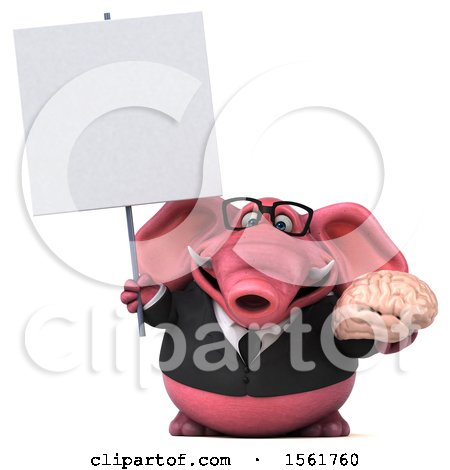 Clipart of a 3d Pink Business Elephant Holding a Brain, on a White Background - Royalty Free Illustration by Julos