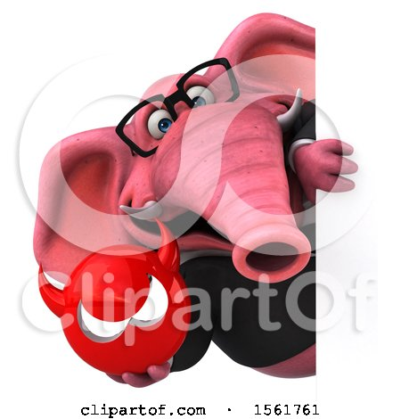 Clipart of a 3d Pink Business Elephant Holding a Devil, on a White Background - Royalty Free Illustration by Julos