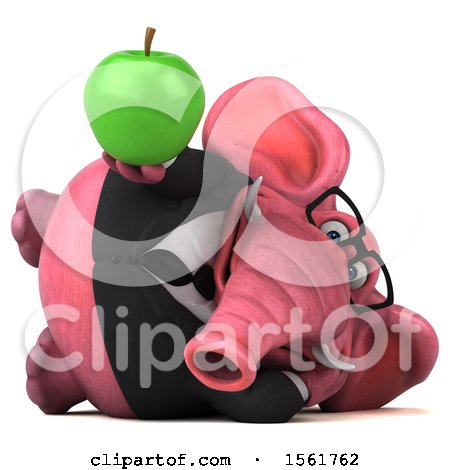 Clipart of a 3d Pink Business Elephant Holding an Apple, on a White Background - Royalty Free Illustration by Julos