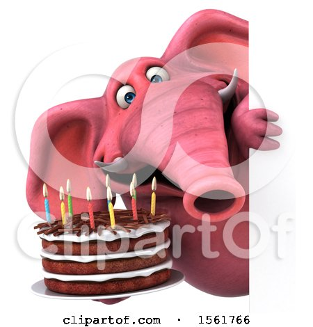 Clipart of a 3d Pink Elephant Holding a Birthday Cake, on a White Background - Royalty Free Vector Illustration by Julos