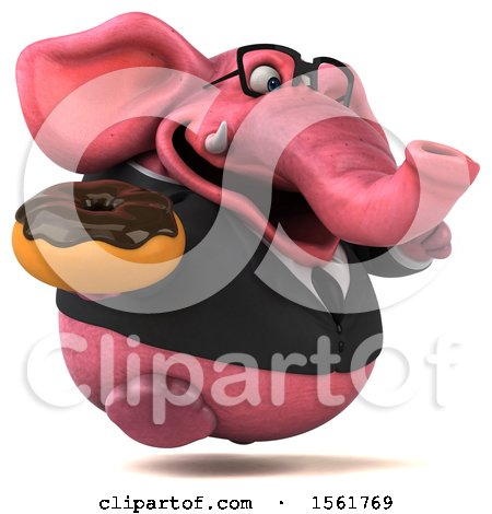 Clipart of a 3d Pink Business Elephant Holding a Donut, on a White Background - Royalty Free Illustration by Julos