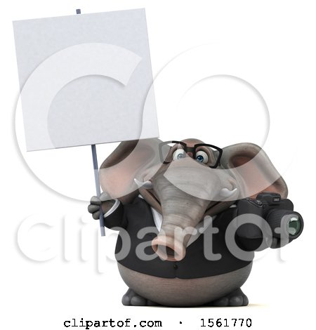 Clipart of a 3d Business Elephant Holding a Camera, on a White Background - Royalty Free Illustration by Julos