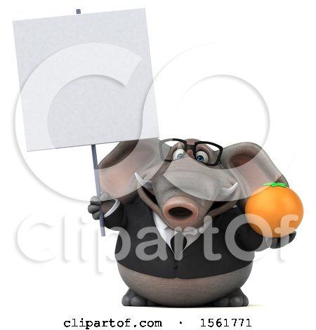 Clipart of a 3d Business Elephant Holding an Orange, on a White Background - Royalty Free Illustration by Julos