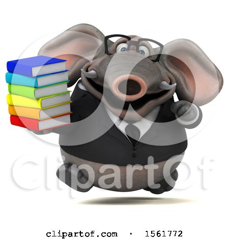 Clipart of a 3d Business Elephant Holding Books, on a White Background - Royalty Free Illustration by Julos