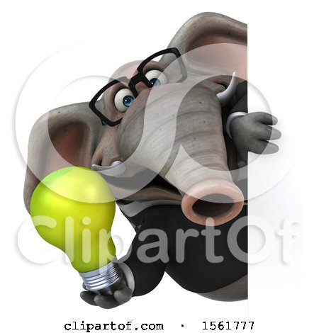 Clipart of a 3d Business Elephant Holding a Light Bulb, on a White Background - Royalty Free Illustration by Julos