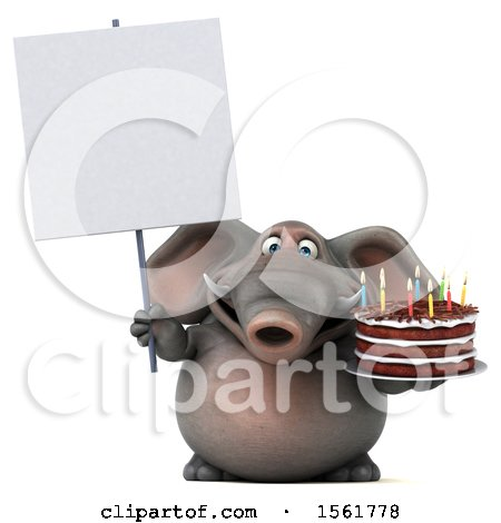 Clipart of a 3d Elephant Holding a Birthday Cake, on a White Background - Royalty Free Vector Illustration by Julos