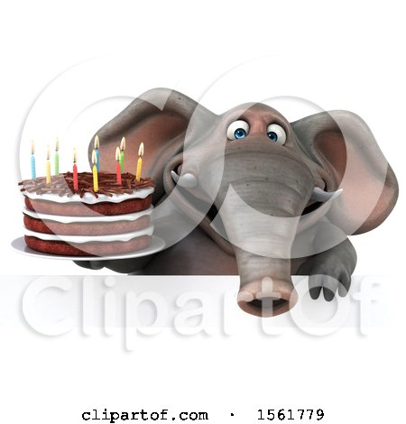 Clipart of a 3d Elephant Holding a Birthday Cake, on a White Background - Royalty Free Illustration by Julos