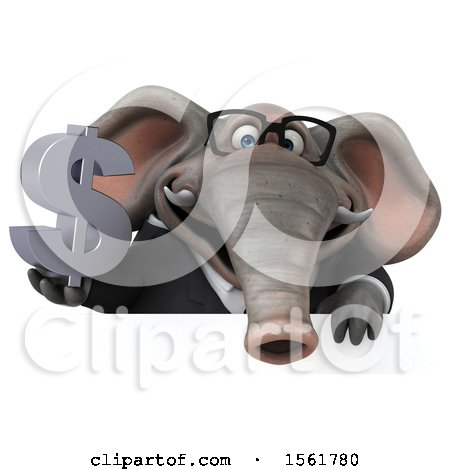Clipart of a 3d Business Elephant Holding a Dollar Sign, on a White Background - Royalty Free Illustration by Julos