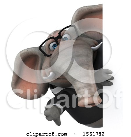 Clipart of a 3d Business Elephant Holding a Thumb Down, on a White Background - Royalty Free Illustration by Julos