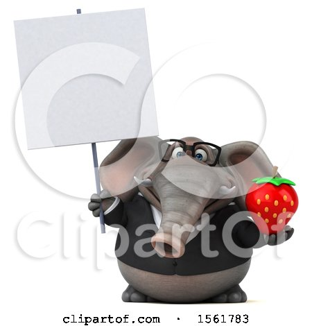 Clipart of a 3d Business Elephant Holding a Strawberry, on a White Background - Royalty Free Illustration by Julos