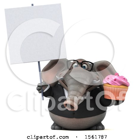 Clipart of a 3d Business Elephant Holding a Cupcake, on a White Background - Royalty Free Illustration by Julos
