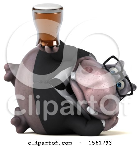 Clipart of a 3d Business Hippo Holding a Beer, on a White Background - Royalty Free Illustration by Julos