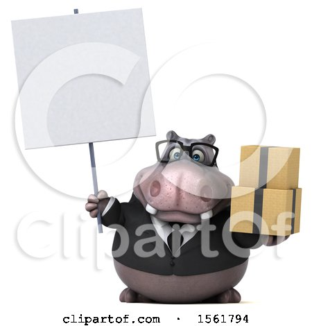 Clipart of a 3d Business Hippo Holding Boxes, on a White Background - Royalty Free Illustration by Julos