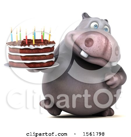 Clipart of a 3d Hippo Holding a Birthday Cake, on a White Background - Royalty Free Vector Illustration by Julos