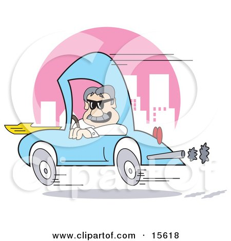 Man Speeding Down A City Road In A Blue Compact Car Posters, Art Prints