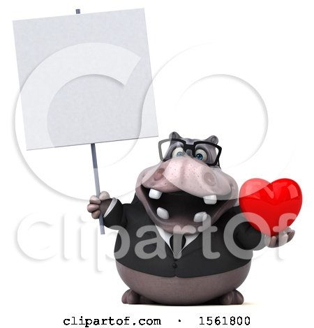 Clipart of a 3d Business Hippo Holding a Heart, on a White Background - Royalty Free Illustration by Julos