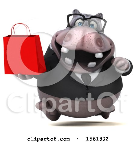 Clipart of a 3d Business Hippo Holding a Shopping Bag, on a White Background - Royalty Free Illustration by Julos