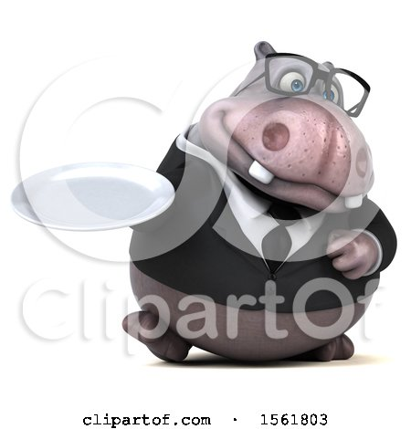 Clipart of a 3d Business Hippo Holding a Plate, on a White Background - Royalty Free Illustration by Julos