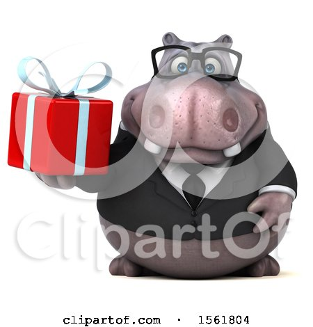 Clipart of a 3d Business Hippo Holding a Gift, on a White Background - Royalty Free Illustration by Julos