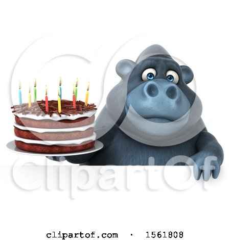 Clipart of a 3d Gorilla Mascot Holding a Birthday Cake, on a White Background - Royalty Free Illustration by Julos