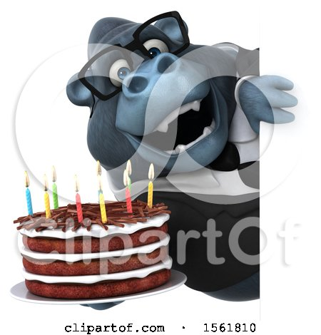 Clipart of a 3d Business Gorilla Mascot Holding a Birthday Cake, on a White Background - Royalty Free Illustration by Julos