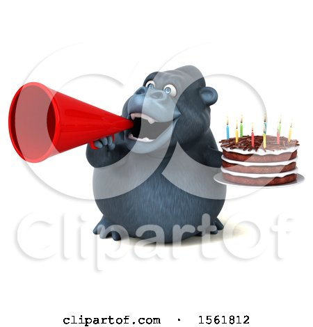 Clipart of a 3d Gorilla Holding a Birthday Cake, on a White Background - Royalty Free Vector Illustration by Julos