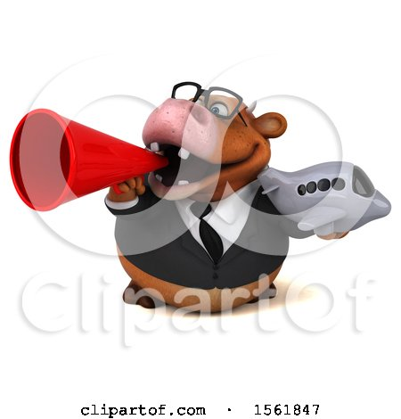 Clipart of a 3d Brown Business Cow Holding a Plane, on a White Background - Royalty Free Illustration by Julos