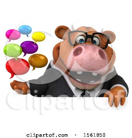Clipart of a 3d Brown Business Cow Holding Messages, on a White Background - Royalty Free Illustration by Julos