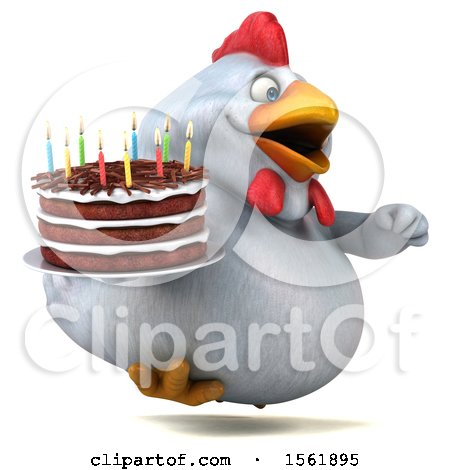Clipart of a 3d Chubby White Chicken Holding a Birthday Cake, on a White Background - Royalty Free Illustration by Julos