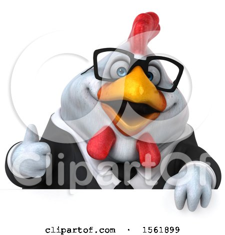 Clipart of a 3d Chubby White Business Chicken Holding a Thumb Up, on a White Background - Royalty Free Illustration by Julos