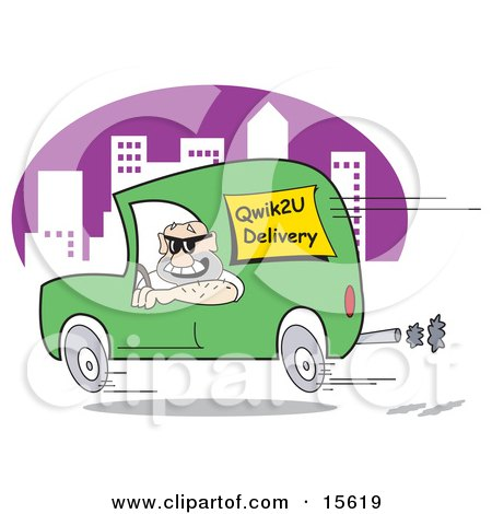 Man Speeding Down The Road In A City In A Green Van While Hurried To Make A Delivery Clipart Illustration by Andy Nortnik