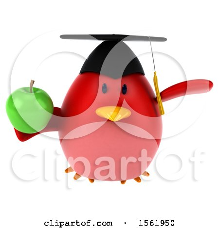 Clipart of a 3d Chubby Red Bird Graduate Holding an Apple, on a White Background - Royalty Free Illustration by Julos